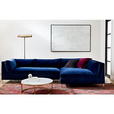 Magnificent Decker 2 Piece Blue Velvet Sectional Sofa In 2019 Pabps2019 Chair Design Images Pabps2019Com