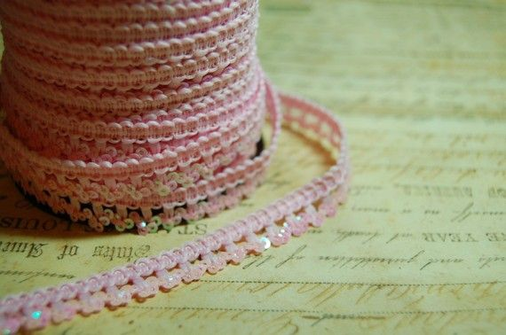 Baby Pink Vintage Style Petite Sequin Trim