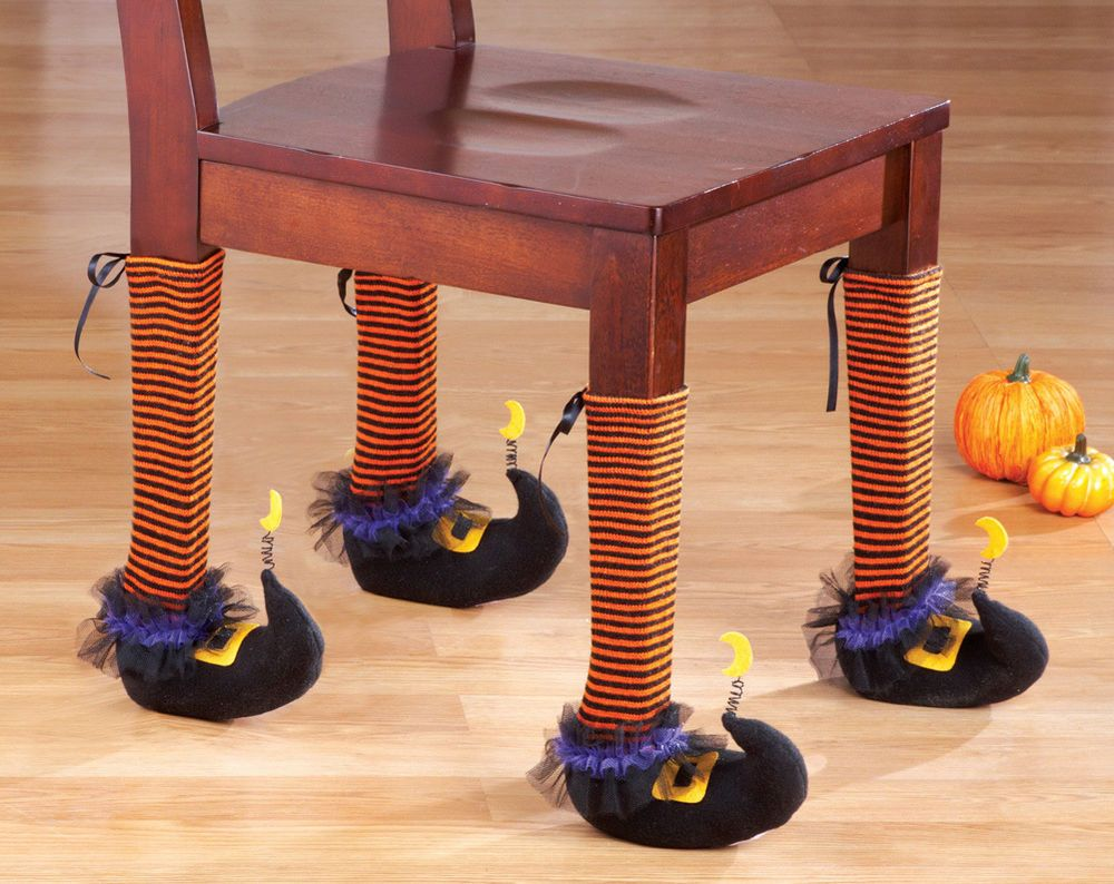 Set of 4 Witch Leg Covers for Kitchen Dining Room Work Chairs - Office Halloween Decor