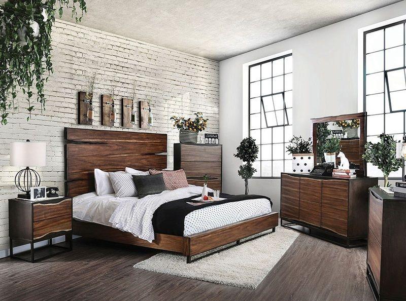 fulton rustic reclaimed wood look master bedroom set dark