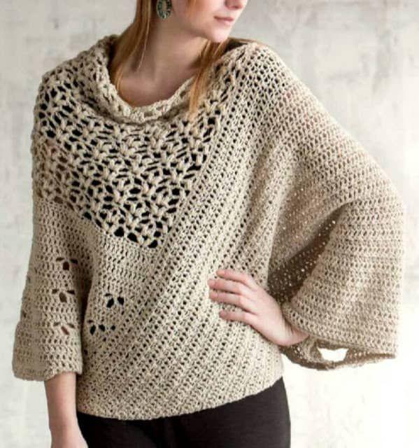 Patrón para tejer poncho a crochet en hilo de color beige. Ideal ...