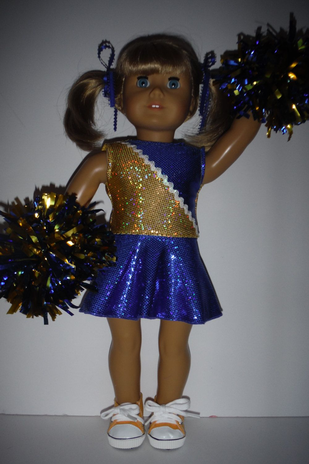 18 inch doll clothes - #403 Blue and Gold Cheerleader Handmade to fit the American girl doll #18inchcheerleaderclothes