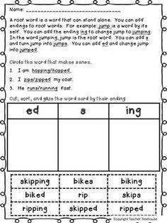 Root Words and Inflectional Endings- s,ed,ing | ELA