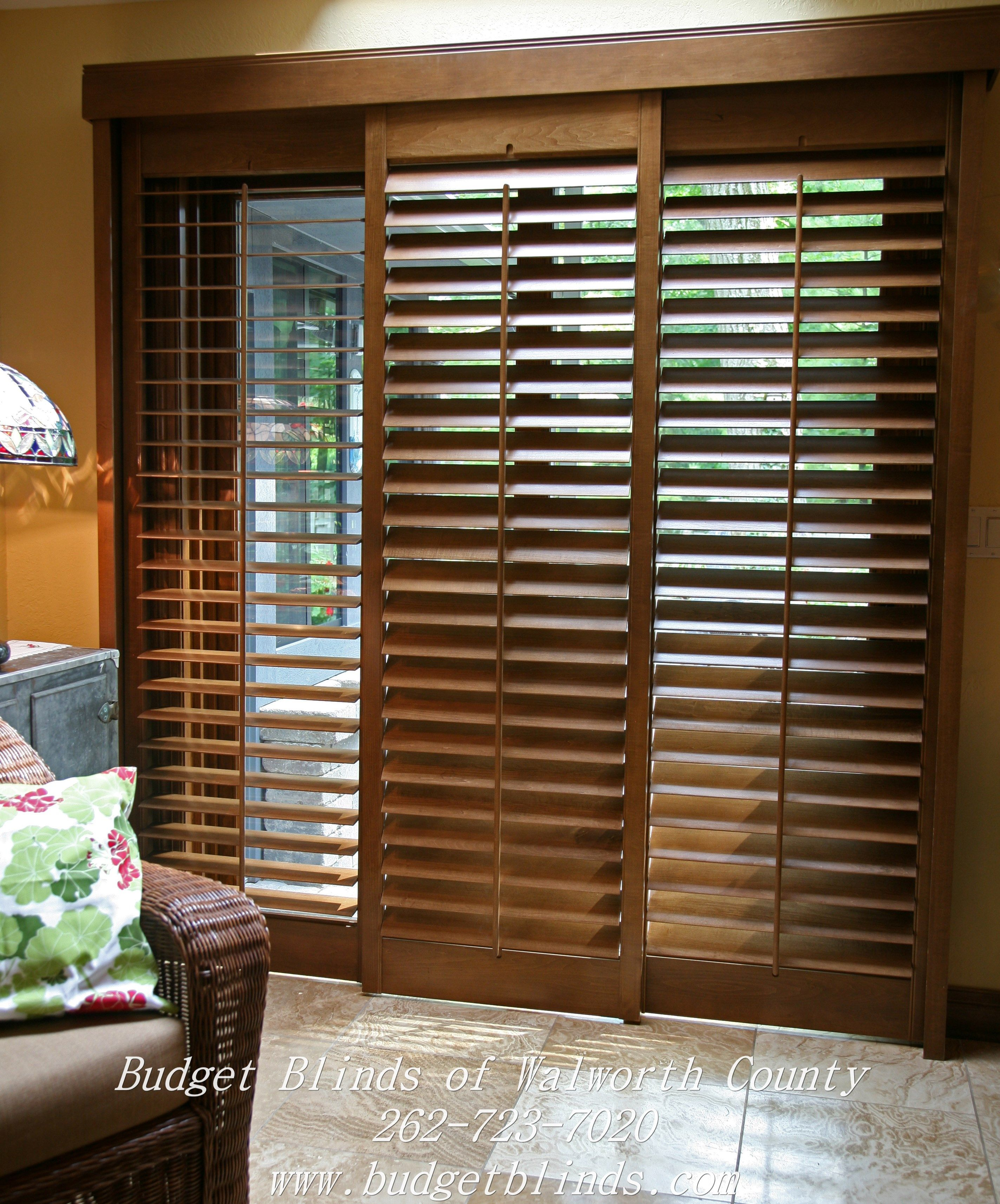 Sliding Glass Door Coverings: Bypass Shutters Are A Great Option For A Patio Door