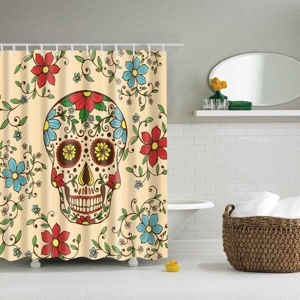15 13 Bath Decor Floral Skull Printed Waterproof Polyester Shower Curtain Skull Shower Curtain Halloween Shower Curtain