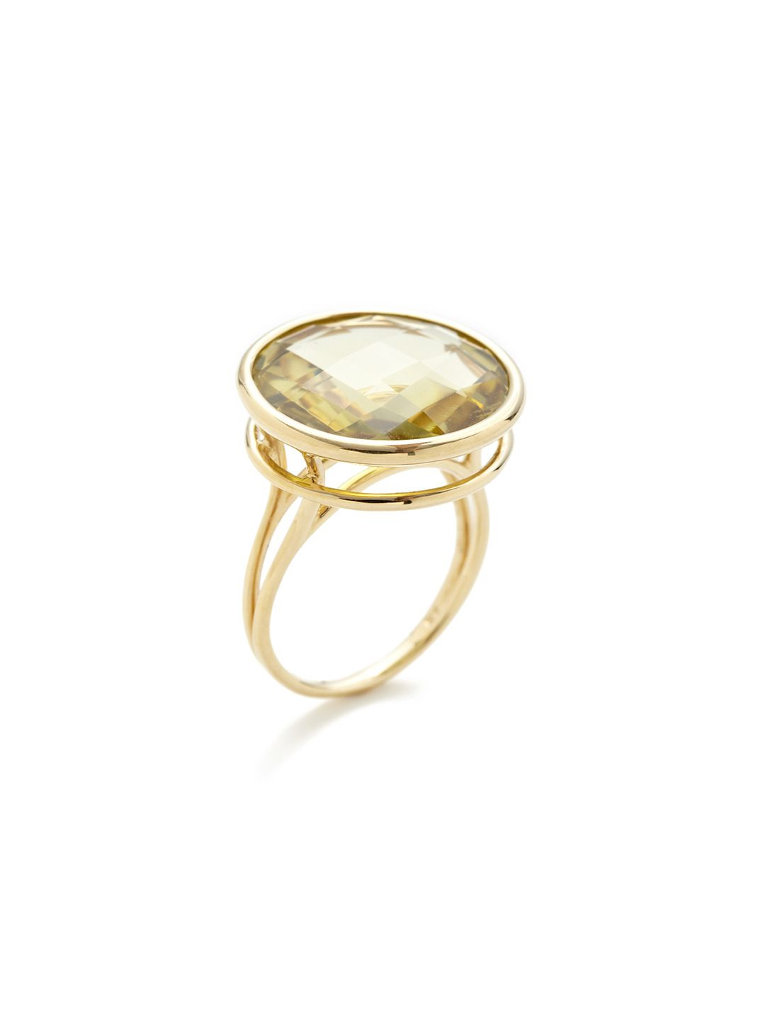 "Green Gold Quartz Disc Ring by Vianna at Gilt  18K yellow gold and faceted green gold quartz disc ring with cutout side details  Total green gold quartz carat weight is 15.50 Ring is sizeable by up to two sizes larger or smaller Measurements: 0.77"" in diameter"