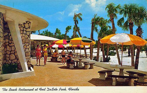 Postcard Of Ft Desoto Park Restaurant Patio 1960s Desoto Park Best Campgrounds Old Florida
