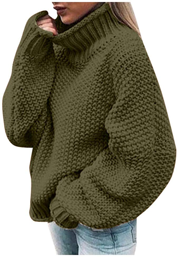 Knitwear Pullover Tops Sweater Loose Long Sleeve Jumper Knitted Turtleneck Women