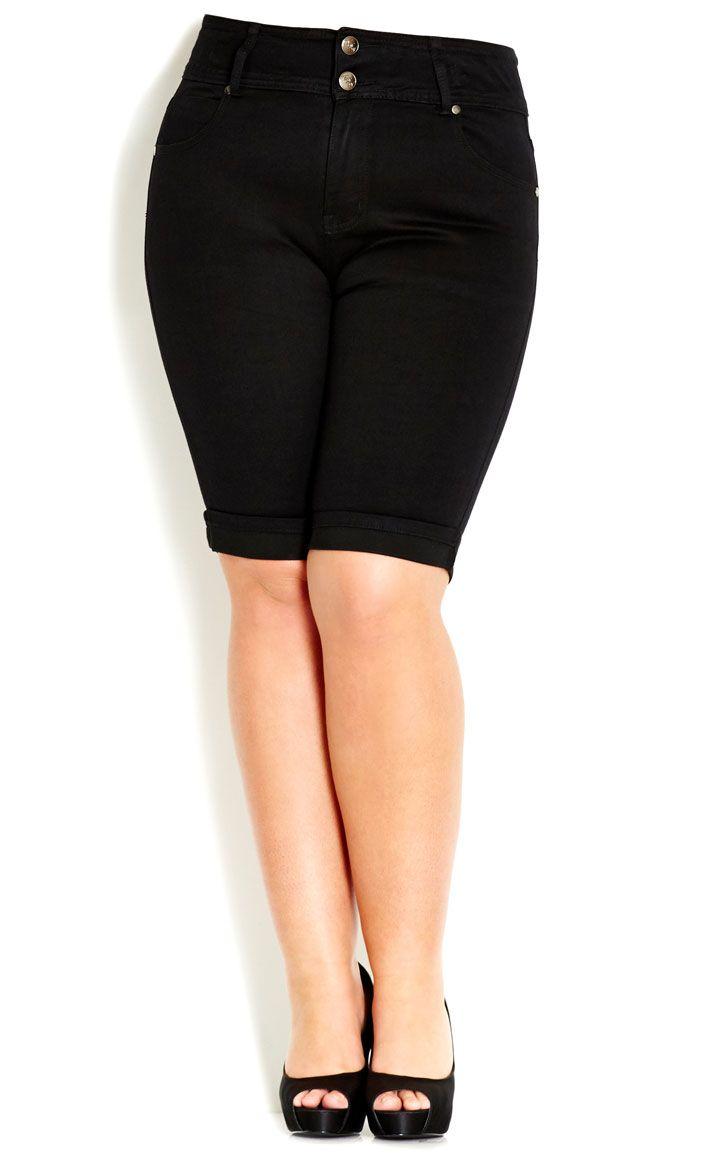 dbbc98cd1159b City Chic - HOURGLASS TDF SHORT - BLACK - Women s plus size fashion ...