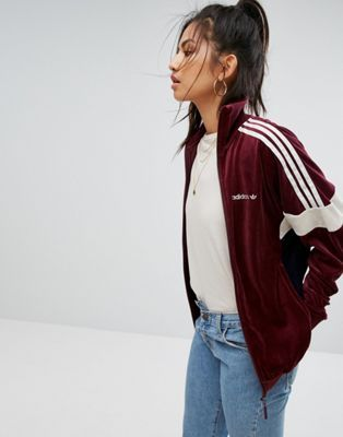 arrives good service good adidas Originals Velour Track Jacket In Burgundy in 2019 ...
