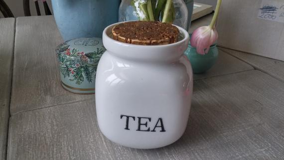 Vintage Ceramic Tea Cannister White Rounded Edges Jar With Cork Lid Tea In Black On One Side Vintage Ceramic Cork Lid Ceramics