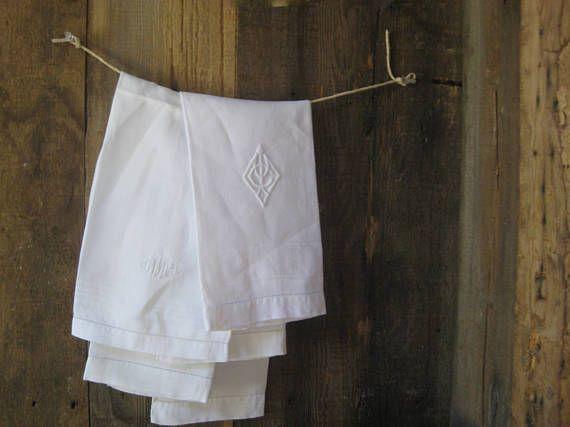 Gentlemen's shaving towels ~ four simple, elegant vintage hand towels