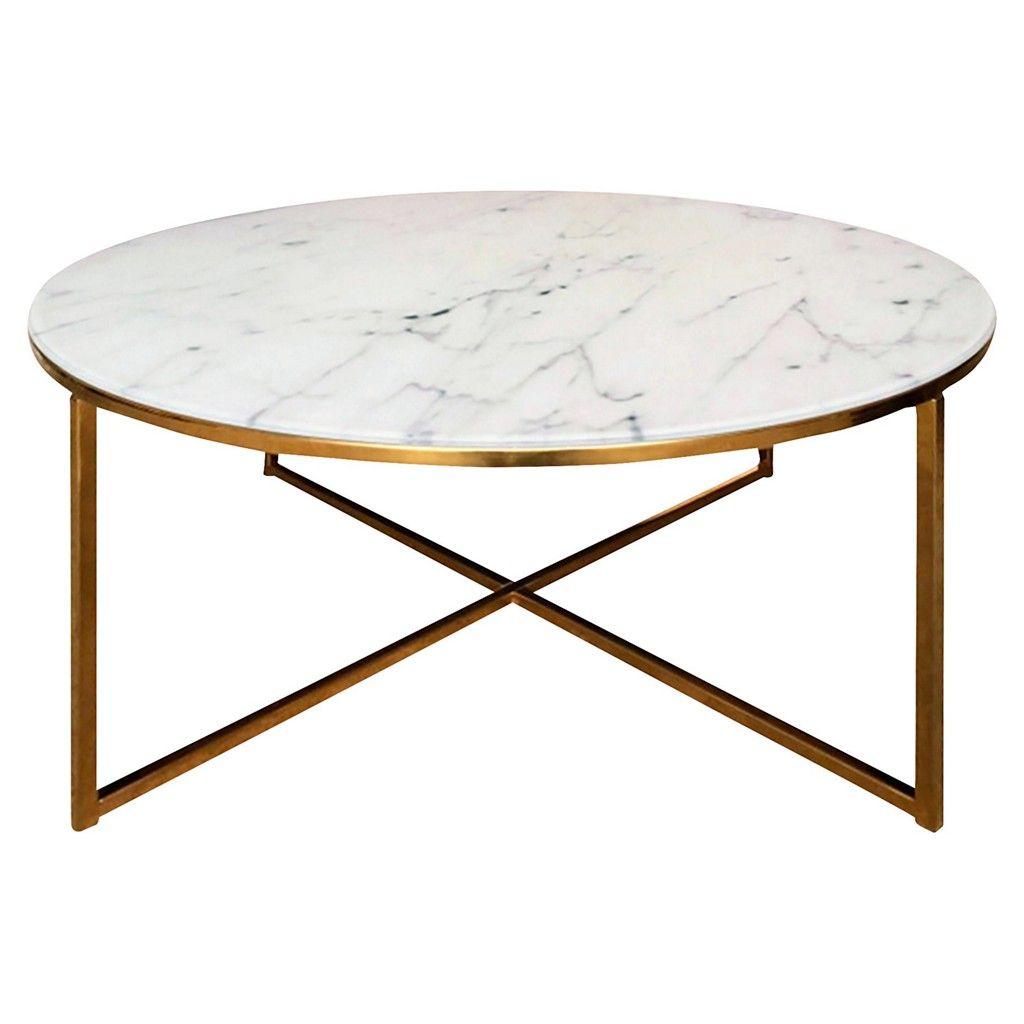 Carryhome Couchtisch Rund Gold Weiss Wohnzimmer Tische