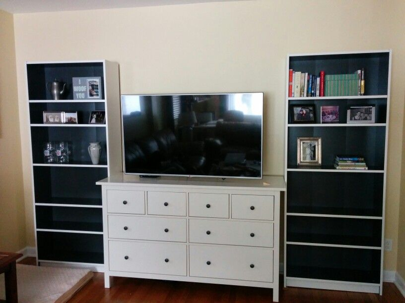 New Entertainment Center Wall Mounted Tv And Ikea Furniture Billy Bookcases In Gray And Hemnes Dresser Wall Mounted Tv Entertainment Center Ikea Furniture