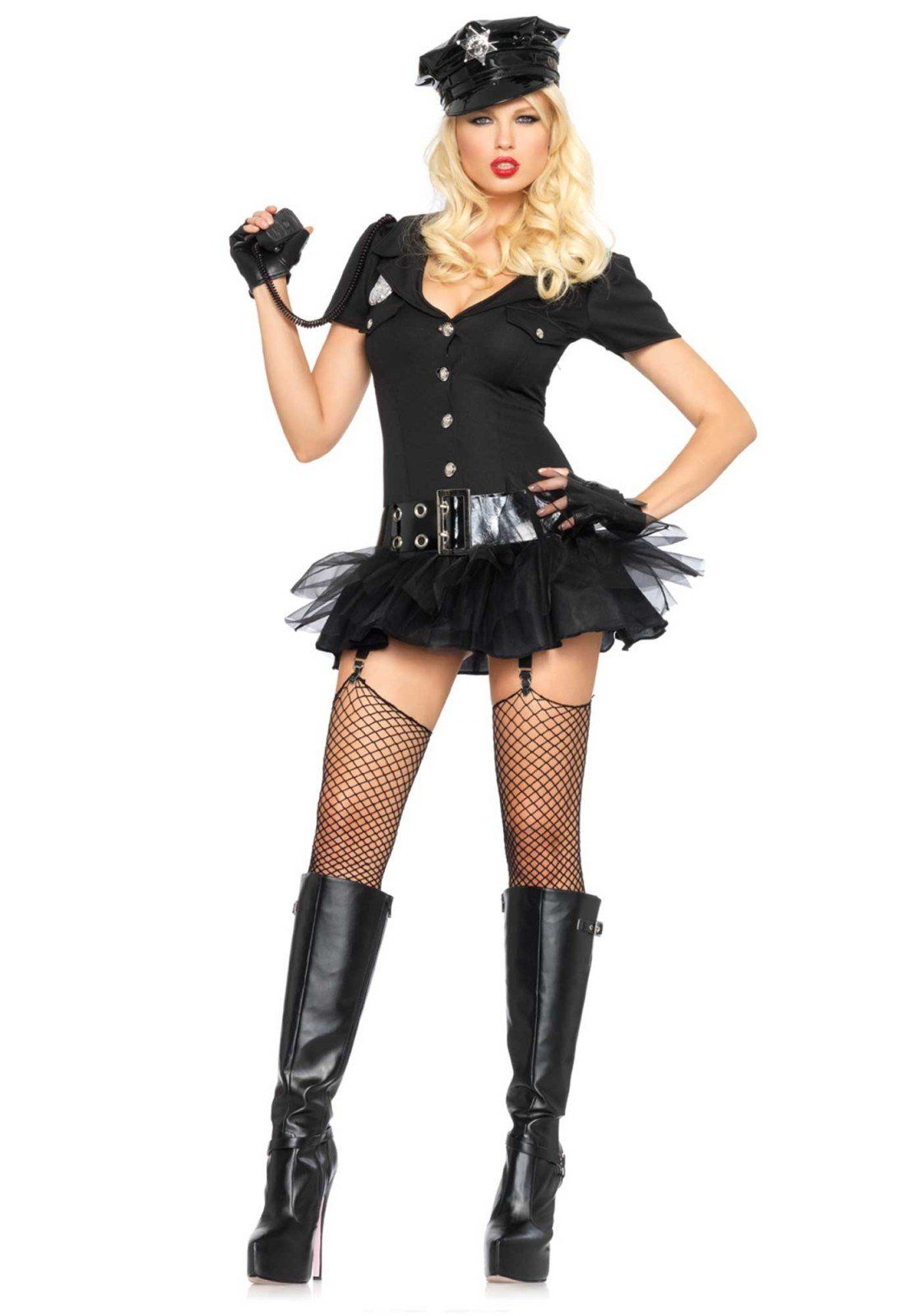 LEG AVENUE POLICE SHIRT WOMEN HALLOWEEN COSTUME LARGE