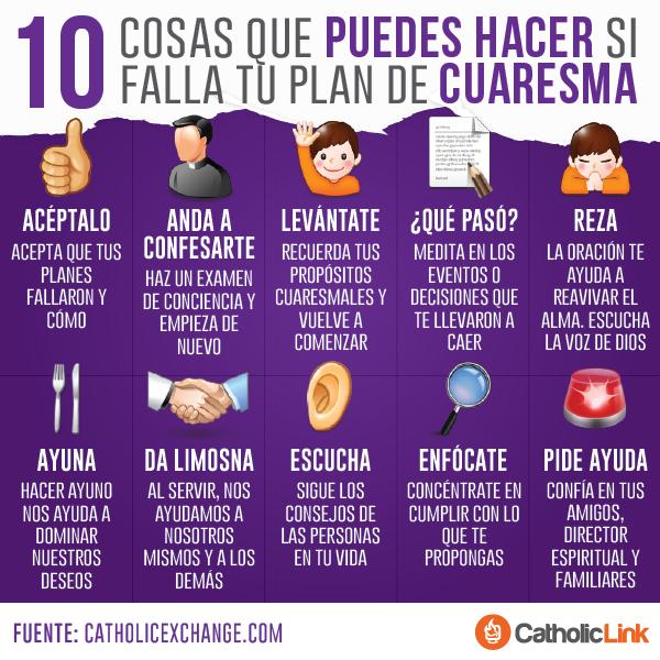 Infografía 10 Cosas Que Puedes Hacer Si Falla Tu Lent Catholic Catholic Beliefs
