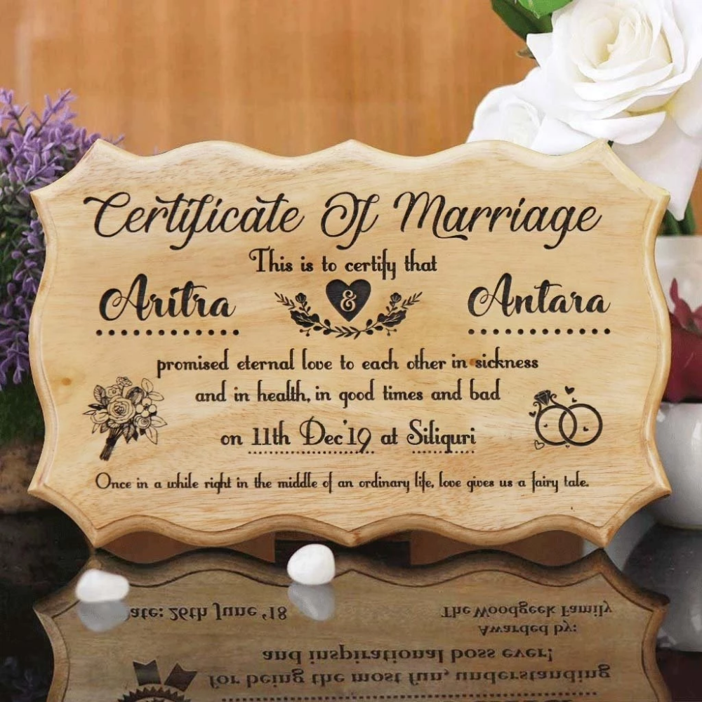 Personalized Wooden Marriage Certificate Unique wedding