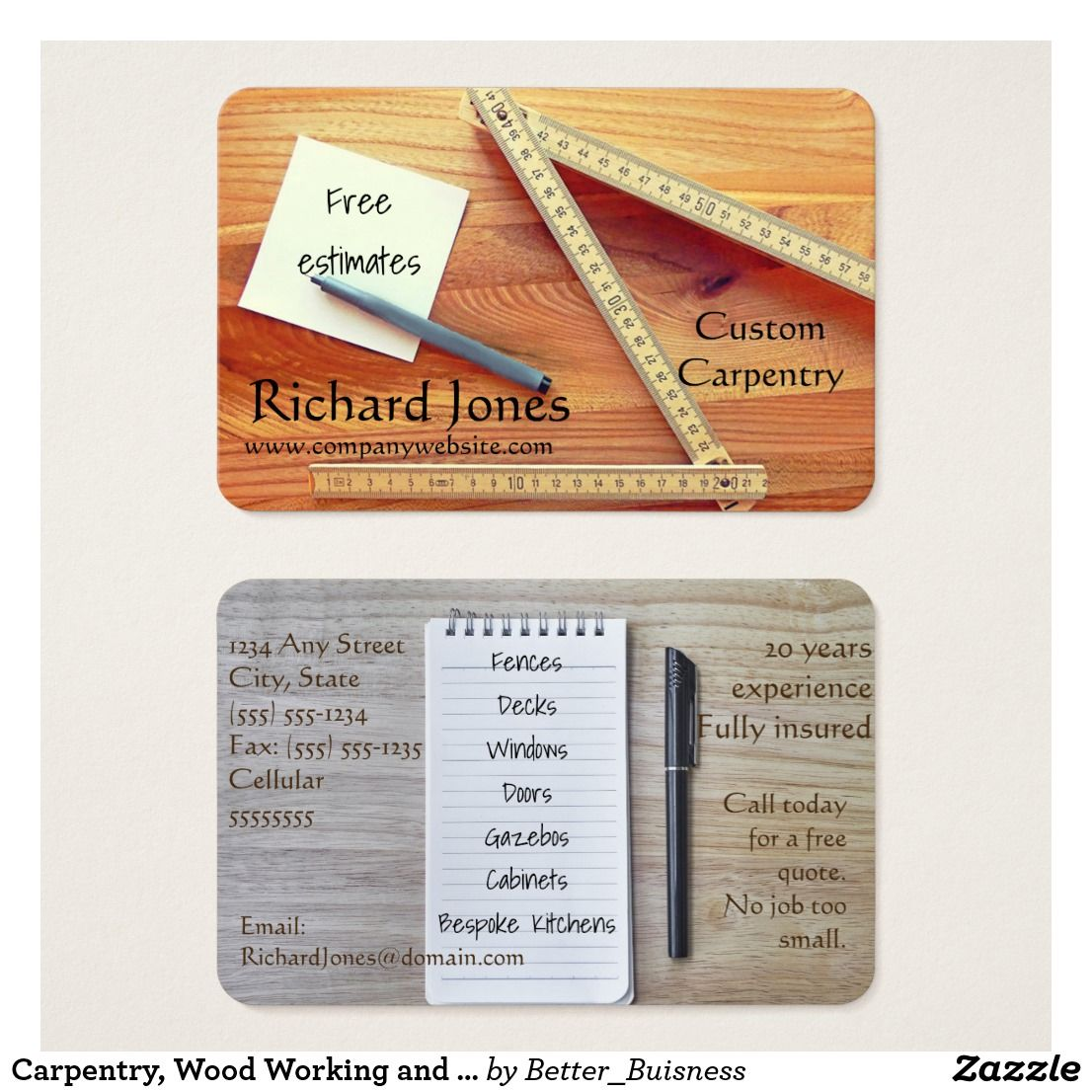 Carpentry Wood Working And Kitchen Fitter Business Card Zazzle Com Carpentry Woodworking Woodworking Business Ideas