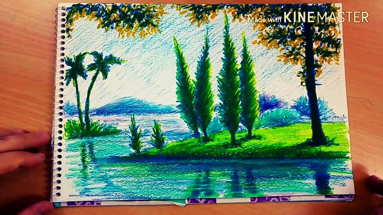 Pastel Boya Manzara 7 Oil Pastel Art Sunset Canvas Painting Africa Painting