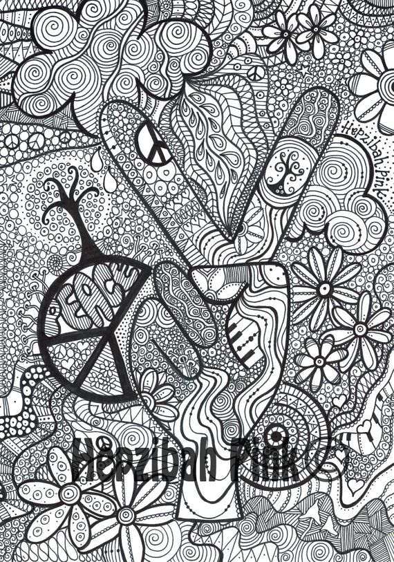 Simple and Attractive Free Printable Peace Sign Coloring Pages in ... | 813x570