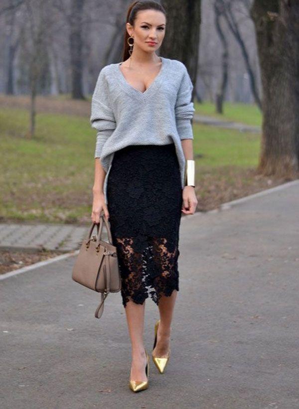 51a951ada8b Кружевная юбка-карандаш (60 фото)  с чем носить
