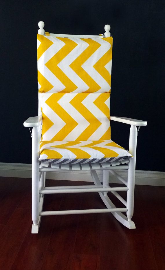 Big Yellow Chevron Rocking Chair Covers, Zig Zag Seat Covers