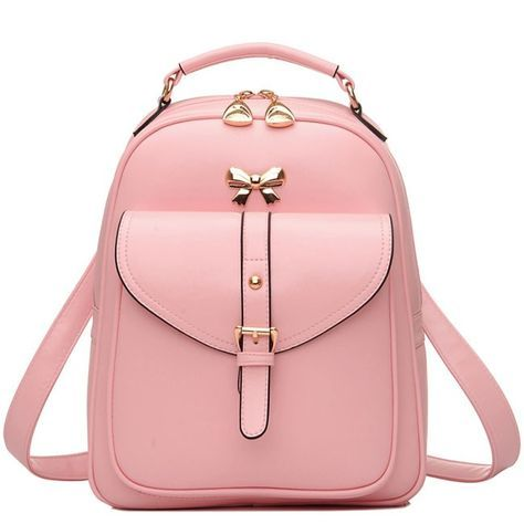 How nice Cute Girls  Bow Buckle Student Bag Simple PU College Backpack ! I  like it ! I want to get it ASAP! b8e23492764dc