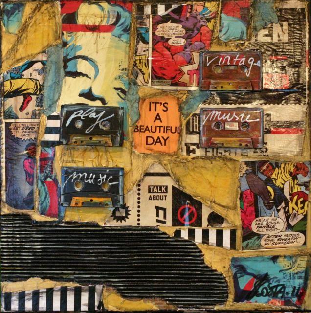 Tableau collage abstrait r alis avec des k7 des for Magazine bricolage et decoration
