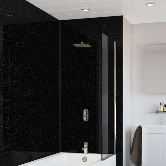 Black Crystal Splashwall Panel 1000 X 2400 Splashpanel Bathroom Cladding Bathroom Cladding Bathroom Wall Panels Shower Wall Board