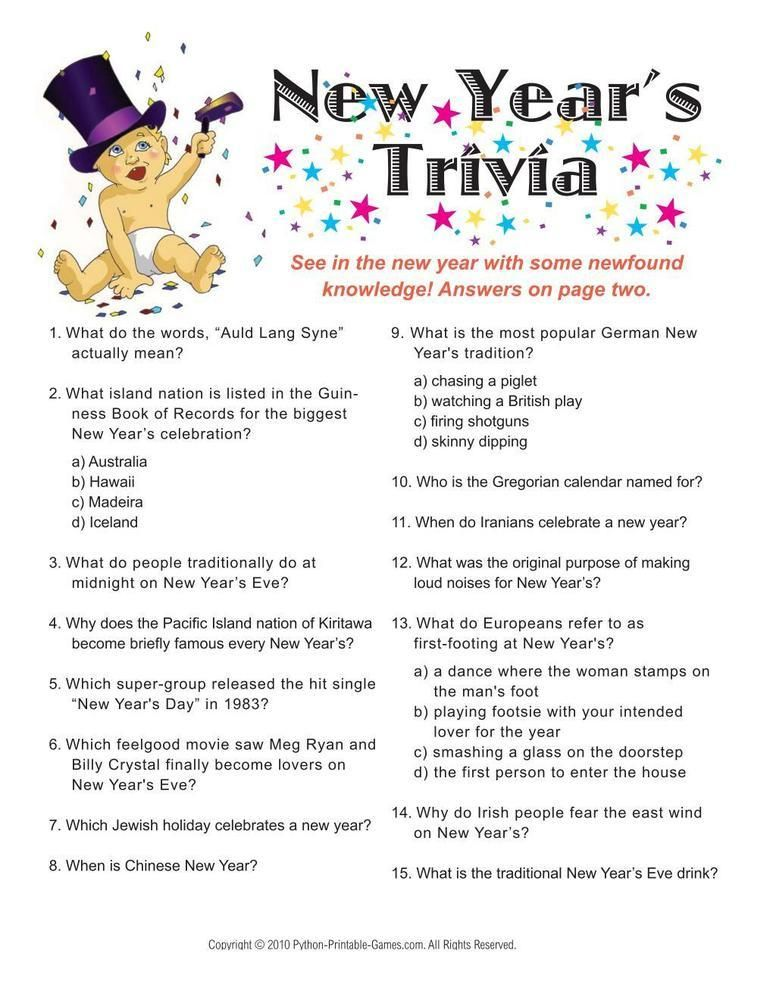 New Year's Eve Trivia Game, 6.95 New years eve games