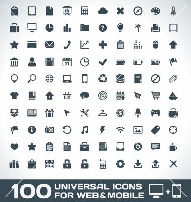 100 Universal Icons For Web And Mobile Vector Icone Web Icone