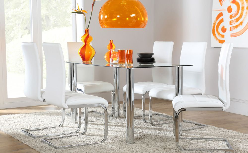 Lunar Perth Glass Chrome Dining Set White Room FurnitureDining