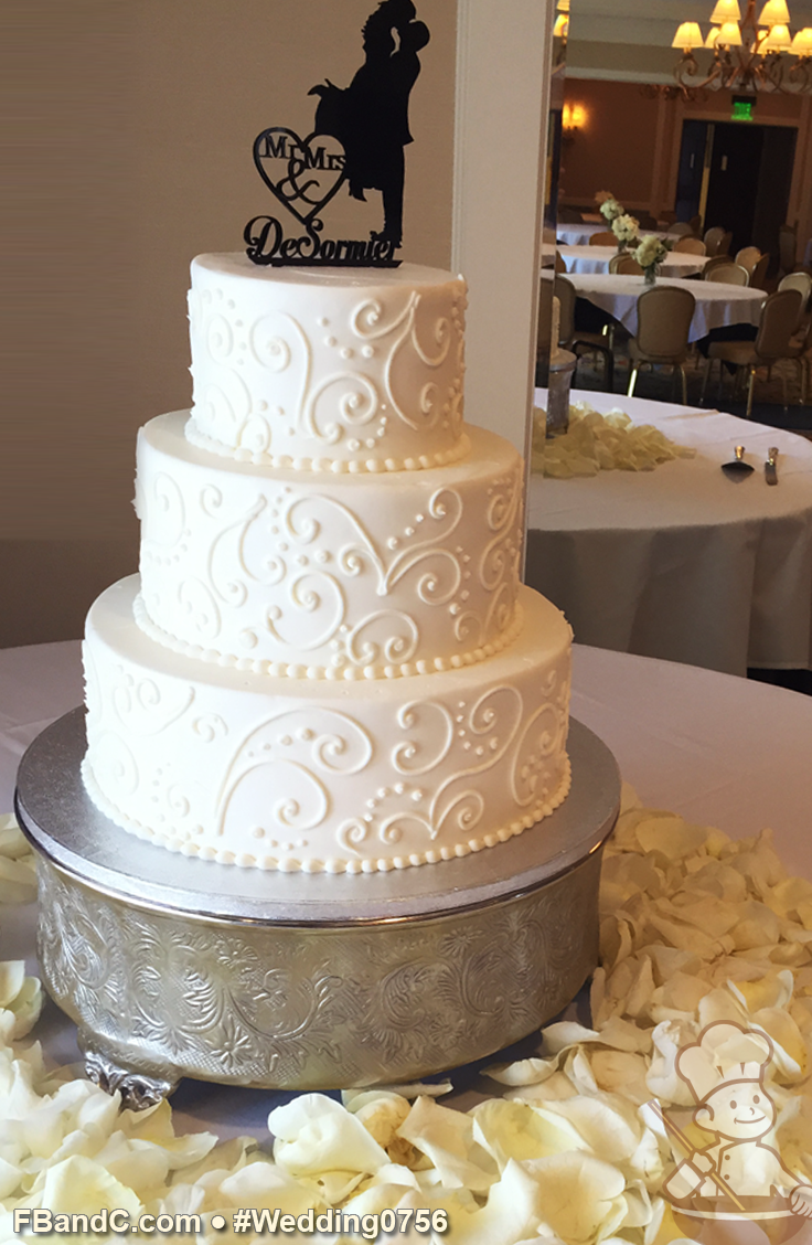 Design W 0756 Butter Cream Wedding Cake 12 9 6 Serves 100 Hand Piped Scrolling Standa Cream Wedding Cakes Wedding Cake Designs Simple Wedding Cake