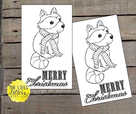 Raccoon Christmas Card Printable 3x5 Children Adult Coloring Printable Christmas Cards Christmas Prints Kids Christmas