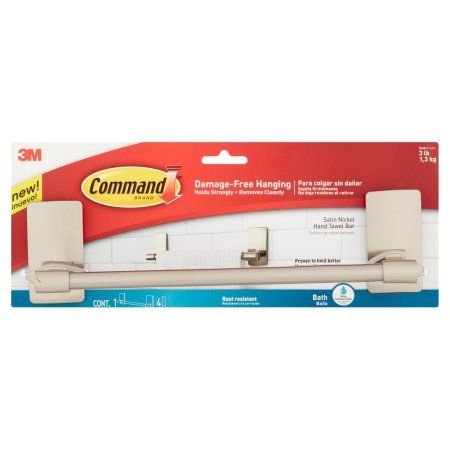 Command Bath 9 Satin Nickel Hand Towel Bar 1 4 Medium Water Resistant Strips Pack