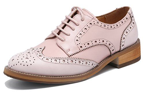 00cff12bc1 U-lite Women s Perforated Lace-up Wingtip Leather Flat Oxfords in two tone  Blush Pink