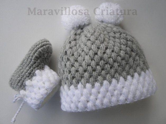 7ec9b51b814 Zapatos de punto/ganchillo - Conjunto para bebés en gris/blanco, patucos,  gorro - hecho a mano por MaravillosaCriatura en DaWanda