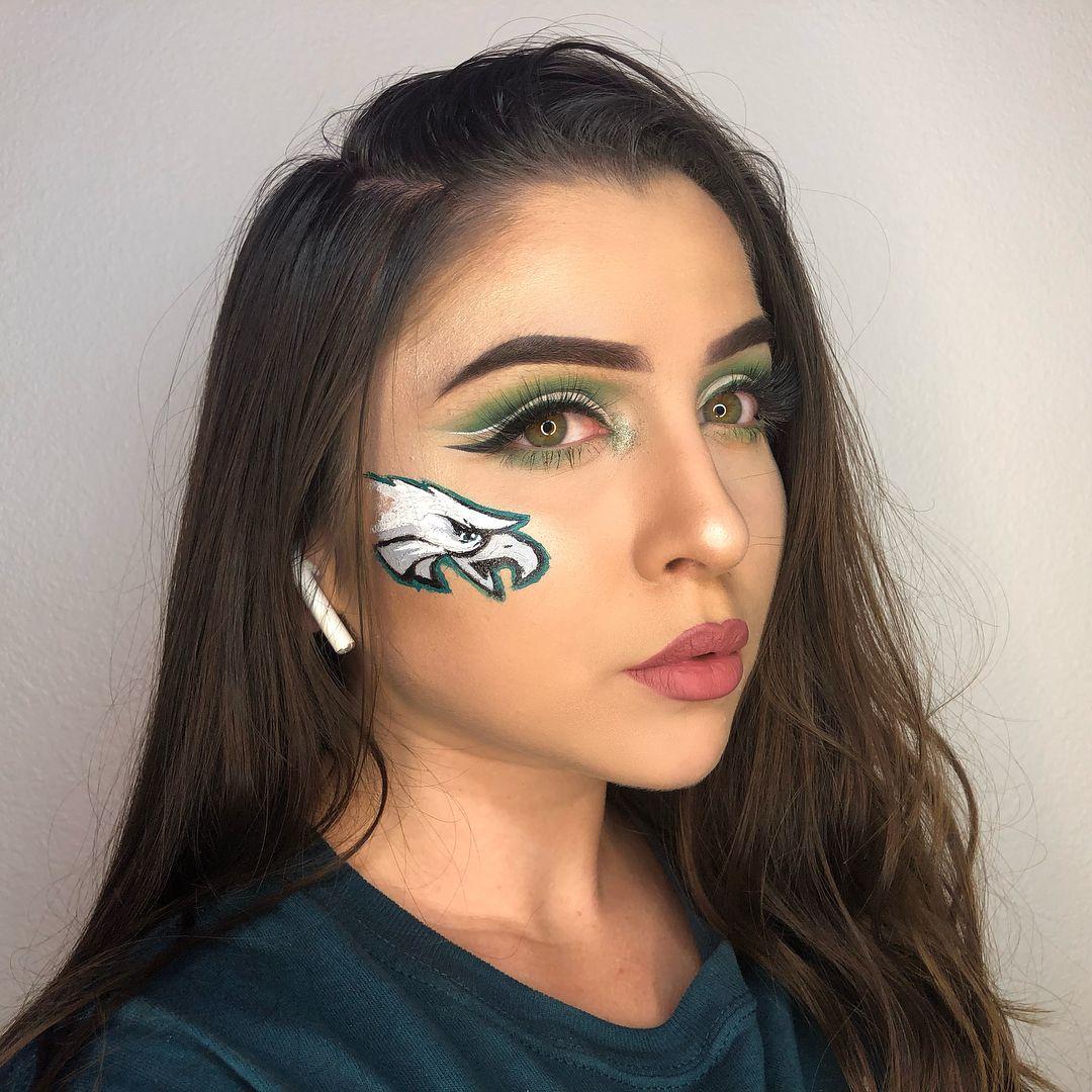 Full Face Philadelphiaeagles Proud Flyeaglesfly Philadelphiaeagles Eagles Superbowl Face Detail Football Makeup Football Face Paint Soft Matte Lip Cream