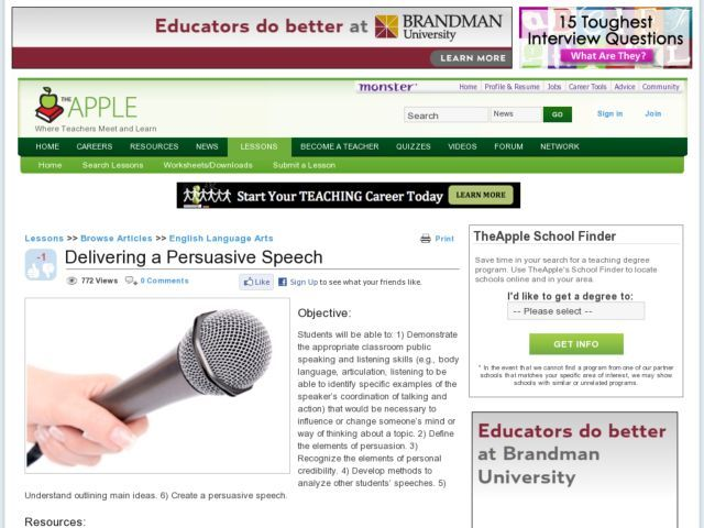 Delivering A Persuasive Speech Lesson Plan  Lesson Planet