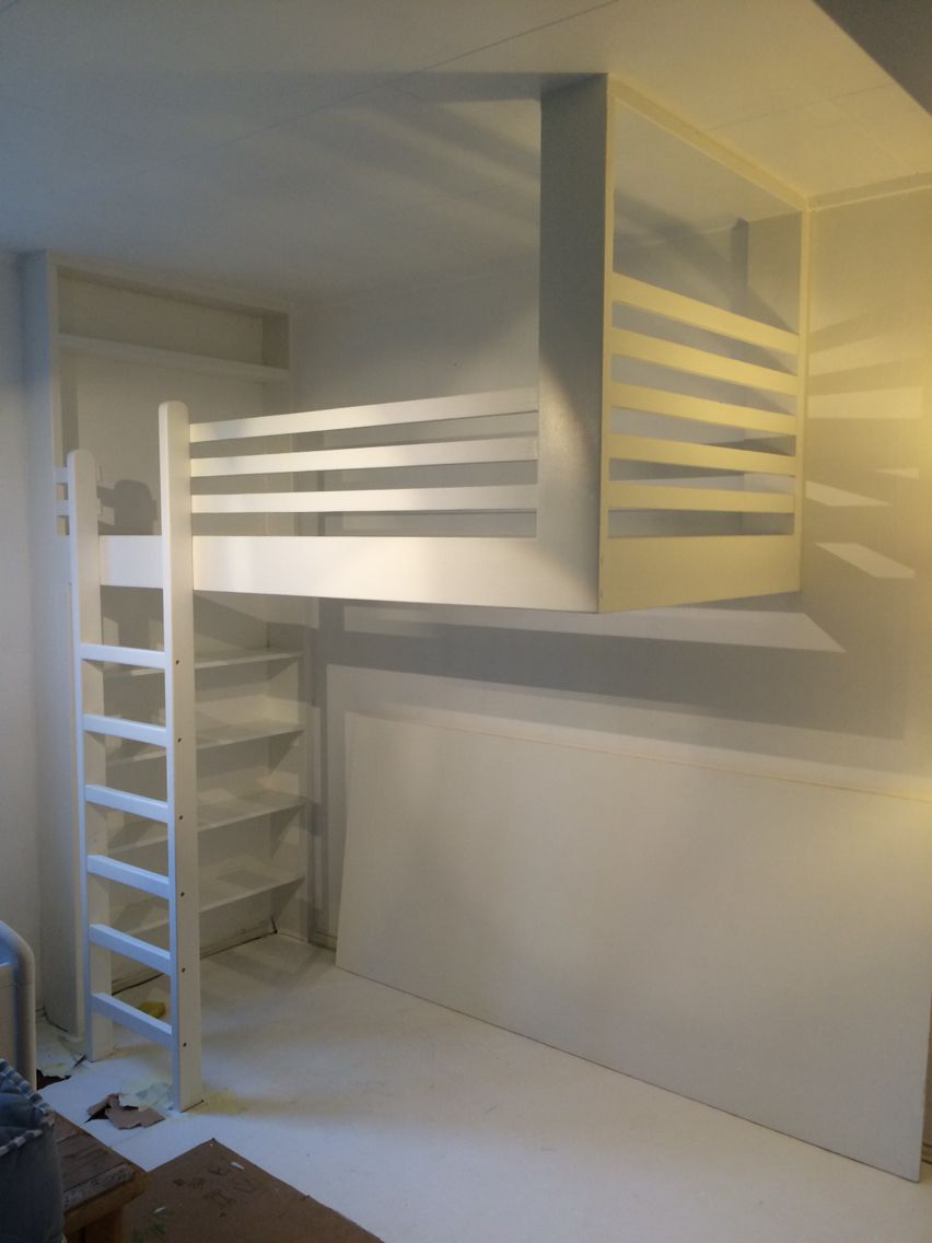 Floating Bunkbed Hanging From Ceiling On One Side Flexible If Want To Have Play Area Or Another Bed Under Diy Loft Bed Loft Bed Frame Kids Loft Beds