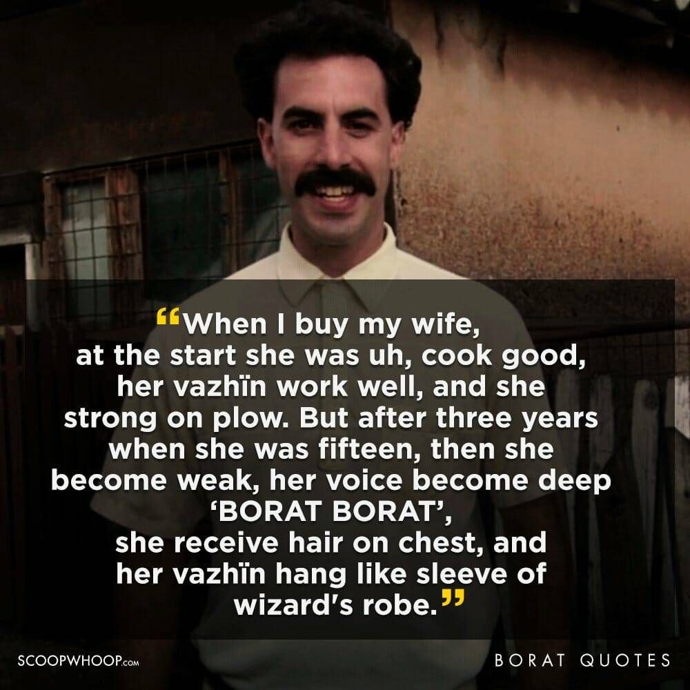 Borat Reflects On His Marriage Best Quotes Diet Motivation Funny Smoothie Diet