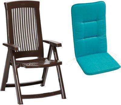 Gartenstühle kunststoff blau  Kunststoff Klapp Gartenstuhl ´´Elisa Uni´´ mit Polsterauflage braun ...