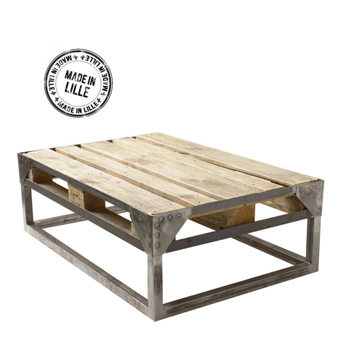 Table Basse Palette Recycl E Et Pi Tement Acier Bross Main Cargo  # Table De Salon En Palette