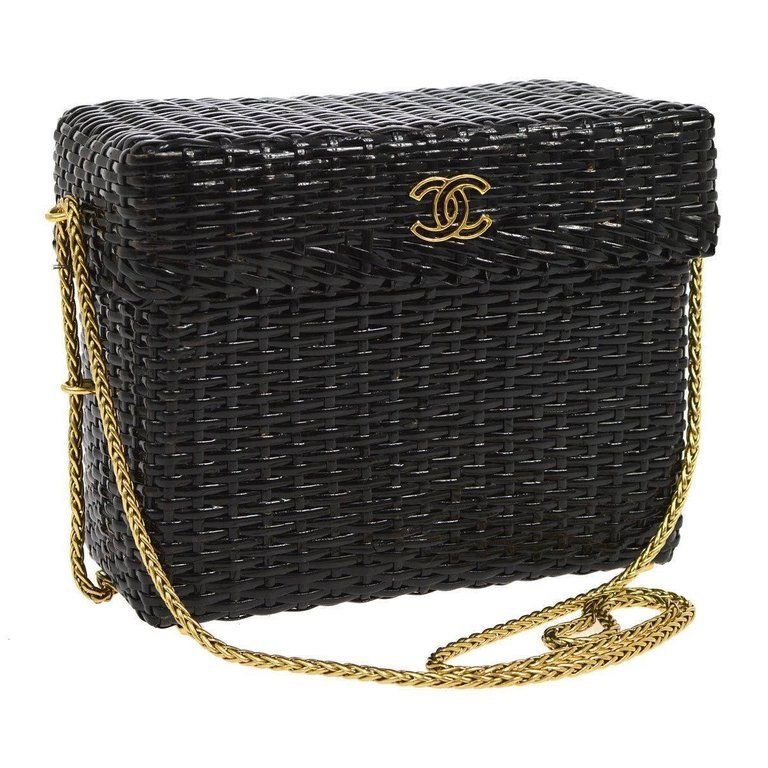 Chanel Rare Black Wicker Picnic Lunch Box Evening Shoulder Bag ... 8eca67a6da9fc