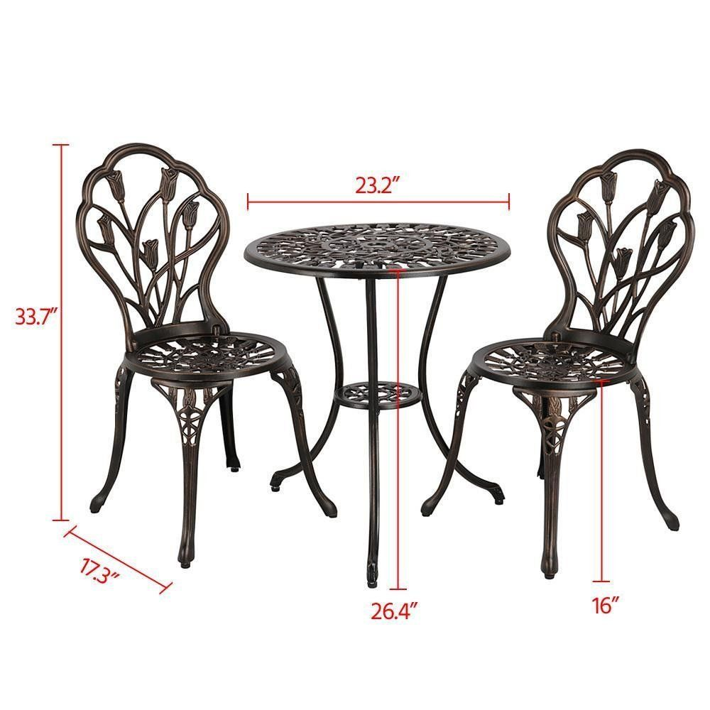 Amazon Com Yaheetech 3 Piece Bronze Patio Set Outdoor Patio