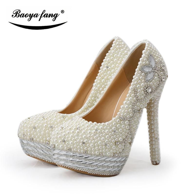 BaoYaFang Beige pearl and crystal womens wedding shoes Bride platform shoes  high shoes ladies big size Pumps woman shoes  mermaidweddinggowns   bridalgowns ... 883b2da8d0a3
