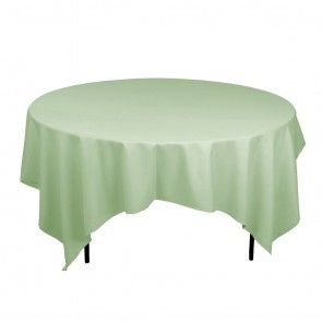 85 Inch Square Polyester Tablecloth Sage On A 60 Inch Round Table