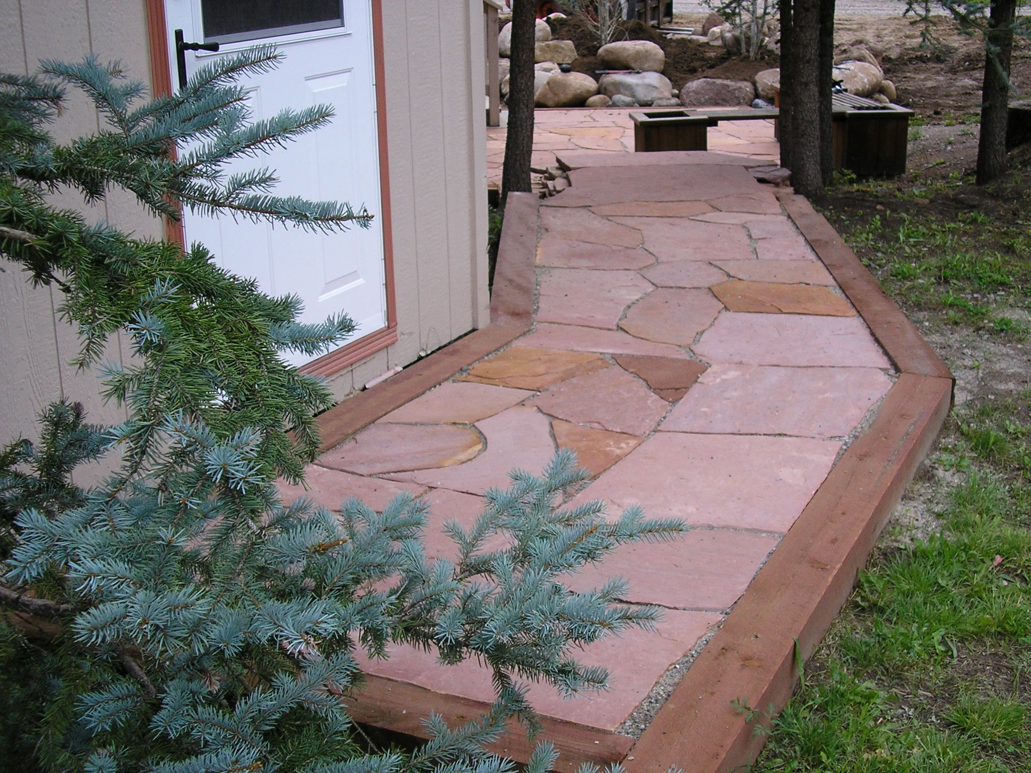 rose colored flagstone walkway by gardenhart landscape design garden ideas - Flagstone Walkway Design Ideas