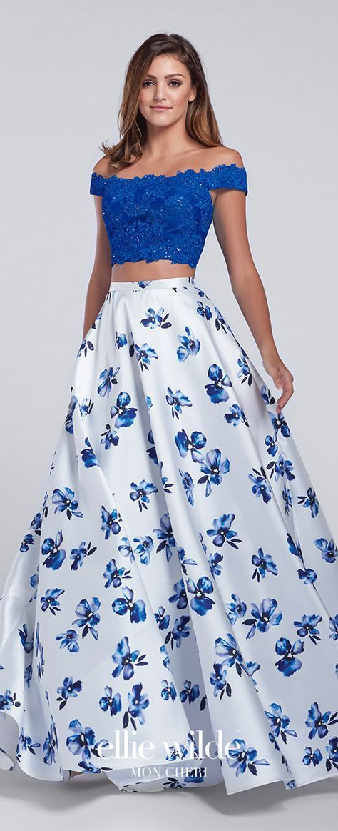 40bd98e130a0 Prom Dresses 2017 - Ellie Wilde for Mon Cheri - Two-Piece Royal Blue &  White Floral Prom Dress with Lace Cropped Top and A-line Skirt with Pockets  - Style ...