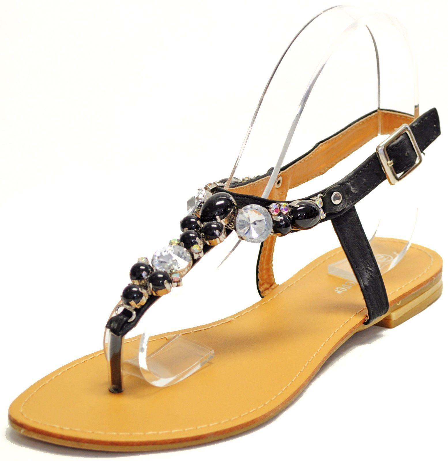 Black sandals rhinestones - Women S Shoes Open Toe T Strap Rhinestones Sandals Summer Casual Black